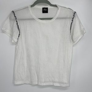 LF WHITE MESH TOP STRETCH SEXY LOOK SMALL